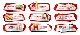 Set di banner di cibo veloce fast food.