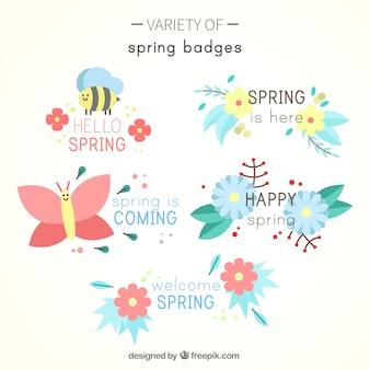 Set di bei distintivi di primavera