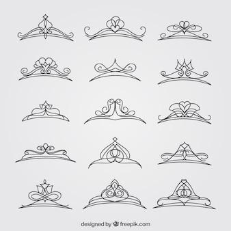 Set di belle corone di princess