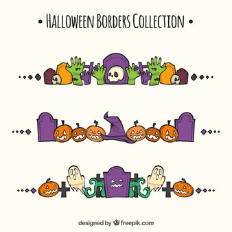 Set di bordi decorativi disegnati a mano Halloween