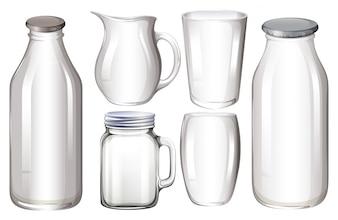 Set di contenitori di vetro senza etichetta