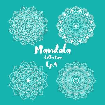 Set di design decorativo e ornamentale mandala per la pagina di colorazione, biglietto di auguri, invito, tatuaggio, yoga e simbolo spa