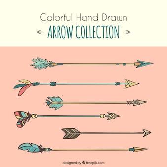 Set di disegnati a mano frecce boho