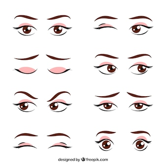 Set di disegnati a mano sguardi femminili