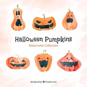 Set di divertenti zucche di Halloween acquerello
