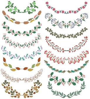 Set di divisori nel design della natura Rami floreali colorati Illustrazione vettoriale