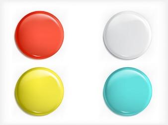 Set di elementi 3D vettoriali di design, icone lucide, pulsanti, blu distintivo, rosso, giallo e bianco isolato