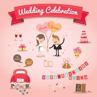 Set di elementi di design dei cartoni animati di nozze vettore
