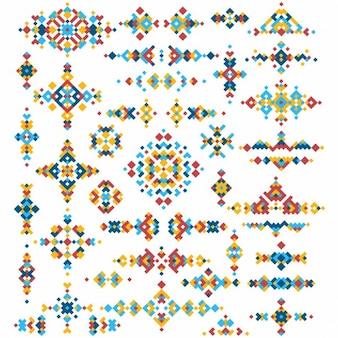 Set di elementi di design luminosi tribali geometrici