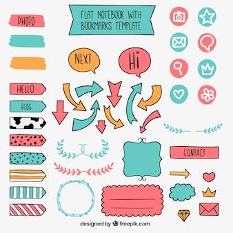 Set di elementi disegnati a mano d'epoca per notebook