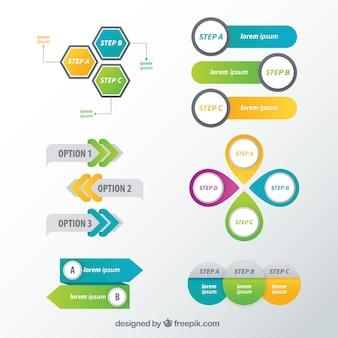 Set di elementi infografici decorativi con varie opzioni