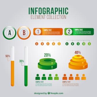 Set di elementi infographic utili in stile realistico