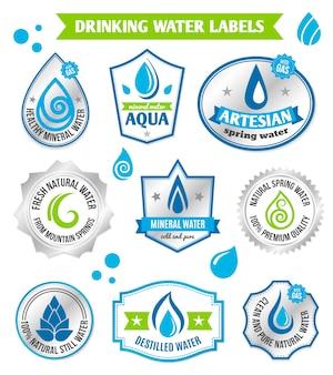 Set di etichetta gocce d'acqua