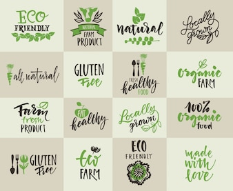 Set di etichette per l'agricoltura naturale