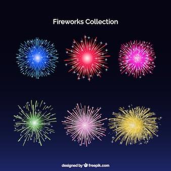 Set di fuochi d'artificio colorati