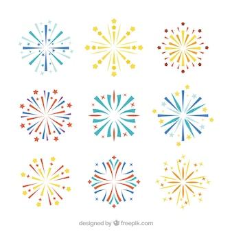 Set di fuochi d'artificio in design piatto