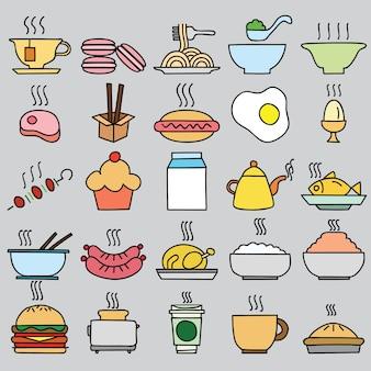 Set di icone di cibo colorato. Illustrazione vettoriale