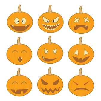 Set di icone di Halloween zucca Halloween