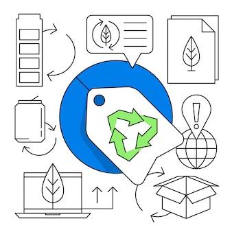Set di icone lineari di riciclaggio