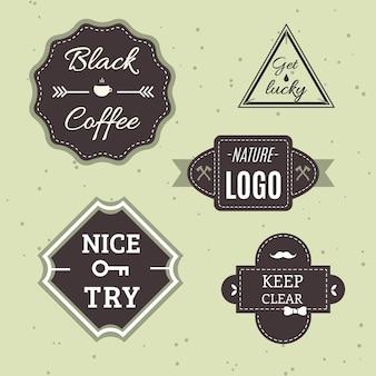 Set di icone o loghi retro d'epoca. Elementi di disegno vettoriale, segni commerciali, loghi, identità, etichette, distintivi e oggetti