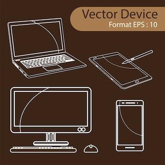 Set di illustrazione vettoriale di dispositivi digitali.