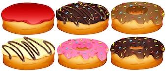 Set di illustrazioni di donuts diversi di toppings