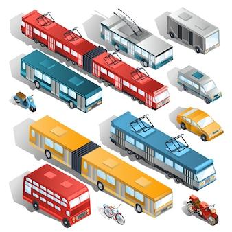 Set di illustrazioni isometriche vettoriali del trasporto urbano comunale