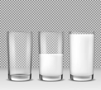Set di illustrazioni realistiche vettoriali, icone isolate, bicchieri vuoti vuoto, mezzo pieno e pieno di latte, prodotto lattiero-caseario