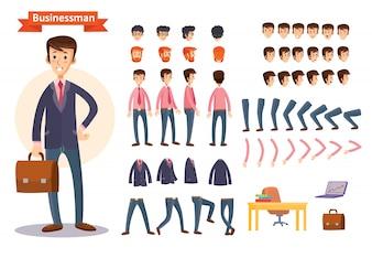 Set di illustrazioni vettoriali di cartone animato per la creazione di un personaggio, uomo d'affari.