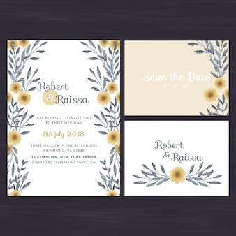 Set di invito a nozze floreale