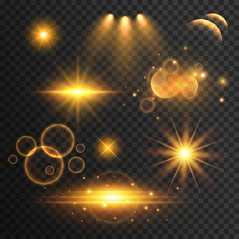 Set di lens flare trasparente ed effetti di luce