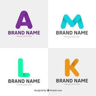 Set di logo colorati di lettere piatte