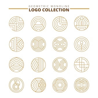 Set di logo geometrici. Simbolo di linea logo. collezione di ornamenti.