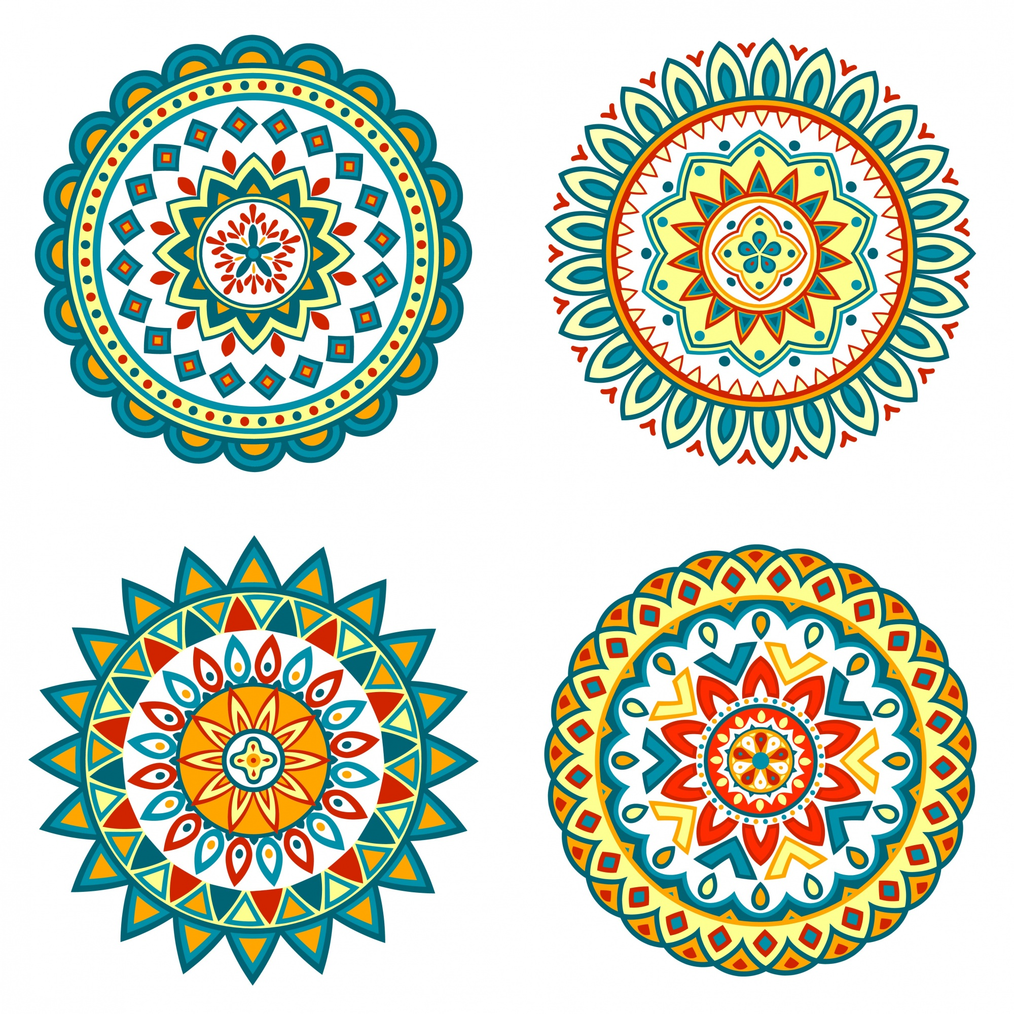Set di mandala colorati vettoriali