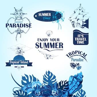 Set di mare tropicale isola vacanza viaggio tag etichette e elementi decorativi illustrazione vettoriale