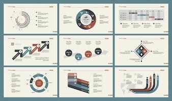 Set di modelli di diapositive di grafici a sei statistiche
