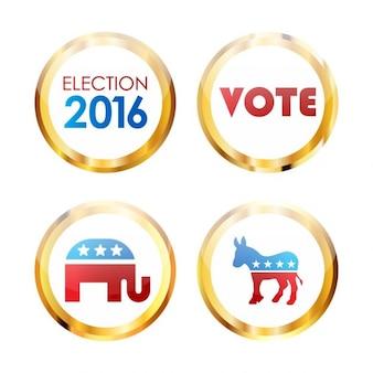 Set di noi pulsanti delle elezioni presidenziali nel 2016