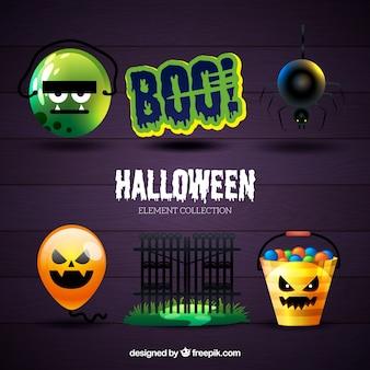 Set di oggetti halloween realistici