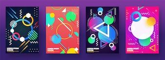 Set di quattro astratto sfondo geometrico.