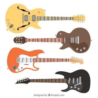 Set di quattro chitarre elettriche in design piatto