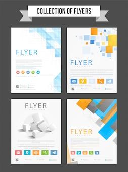 Set di quattro volantini professionali con elementi di design astratti per affari