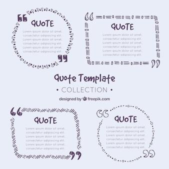 Set di quote template disegnate a mano con penna