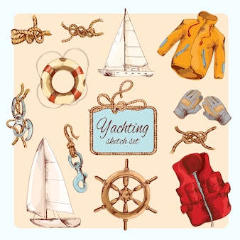 Set di schizzi di yachting