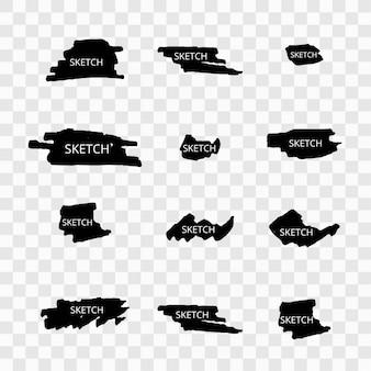 Set di schizzi moderni di schizzo