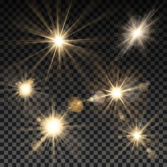 Set di scintille di illuminazione vettoriale su sfondo trasparente