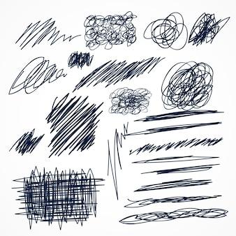Set di scribacchi inchiostro a mano disegnati a mano