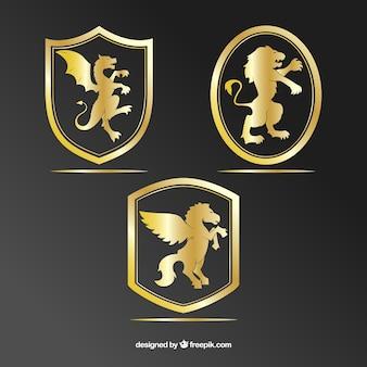 Set di scudi d'oro con gli animali