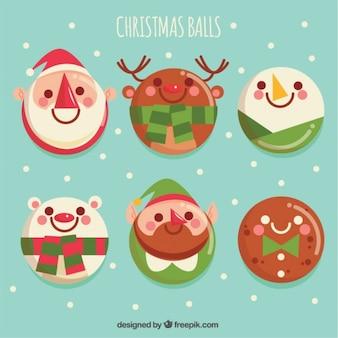 Set di simpatici personaggi palle di Natale