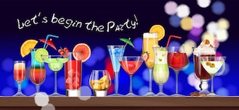 Set di stemware e bicchieri con cocktail