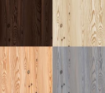 Set di trama di legno vettoriale con motivo naturale